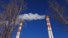 Ecology, pollution of environment, thermal power plant. Stock Footage