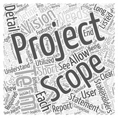 Defining a project scope word cloud concept Stock Illustration