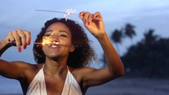 Celebration At The Beach With A Beautiful Brazilian Woman In Slow Motion Stock Footage