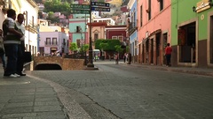 Colonial Mexico streets traffic art people downtown life real estate Stock Footage