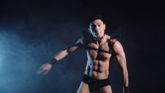 Sexy muscular man dance on dark background. Beautiful body. Sex and passion Stock Footage