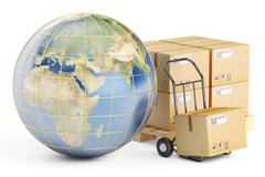 Global shipping and delivery concept parcels cardboard boxes and Earth Stock Illustration