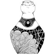 Decorative bottles hand-drawn, in zentangl style. Vector graphics. Black and Stock Illustration
