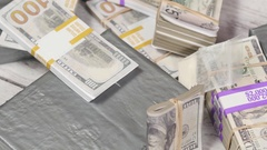 4K Top View Drugs and Cash Money on a Table Stock Footage