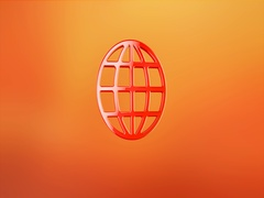 Globe Red 3d Icon Stock Footage