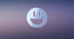 Emot Happy Silver 3d Icon Stock Footage