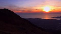 Cartoon Sunset on Adriatic sea, National park Lovchen (Lovcen), Montenegro Stock Footage