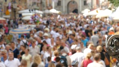 Anonymous crowd of people. Defocused Stock Footage