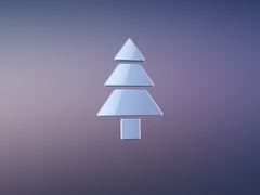 Pine Tree Silver 3d Icon Stock Footage