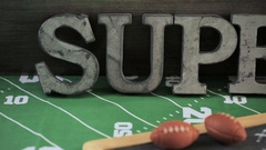 Game day football party table. Stock Footage