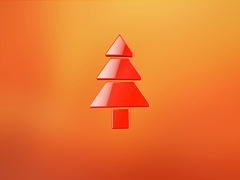 Pine Tree Red 3d Icon Stock Footage