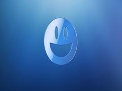 Emot Happy Blue 3d Icon Stock Footage