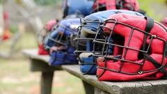 Protective helmets Stock Footage
