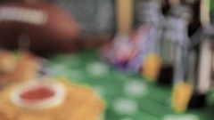 Game day football party table with beer, chips and salsa. Stock Footage
