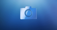 Photo Camera Blue 3d Icon Stock Footage