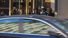 NYPD Guarding Trump Tower Entrance on 5th Avenue Stock Footage