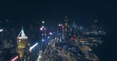 Hong Kong Aerial View at Night Arkistovideo