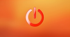 Power ON Red 3d Icon Stock Footage