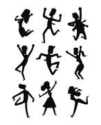 Happy jumping people vector set Stock Illustration