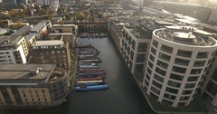 Aerial view of the Grand Union canal in central London Stock Footage