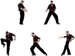 Spanish dancer in various poses on white Stock Photos