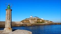 Lighthouse in Tapia de Casariego, Asturias - Spain Stock Footage
