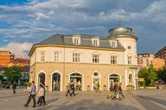 Scanderbeg Square building Pristina Stock Photos