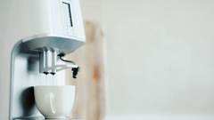 Coffee machine pouring espresso in cup Stock Footage