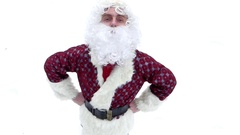 """Santa Claus makes """"like"""" and send to you. View from the top. Stock Footage"""
