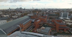 Aerial push in view of St Pancras station and the national library Stock Footage