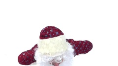"Santa Claus makes ""like"" and send to you. The hat falls from the head. Stock Footage"