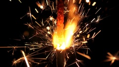 Firework sparkler burning isolated from top to bottom  Stock Footage