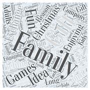 Family christmas gift exchange games word cloud concept Stock Illustration