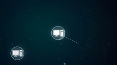 Computer Desktop Network Icon Link Connection Technology Loop Animation 4K Stock Footage