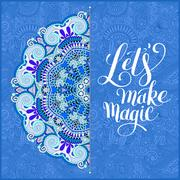 Lets make magic hand lettering positive quote typography poster Stock Illustration
