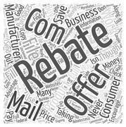 Save Money on your Purchases by Taking Advantage of the Rebates Offered word clo Stock Illustration