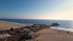 Santa Monica Pier Aerial Glide Stock Footage