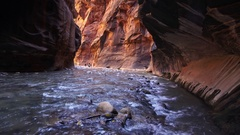 View of river flowing through Zion Narrows Stock Footage