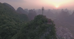 Aerial View of Karst Hills in Yangshuo County, Guilin Stock Footage