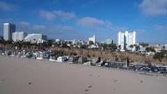 Santa Monica Promenade Aerial Stock Footage