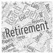 The Joy Of Retirement word cloud concept Stock Illustration