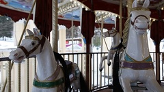 County fair fairground merry-go-round at daytime in winter Stock Footage