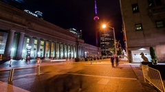 Toronto Union Station & CN Tower time lapse at night tilt Stock Footage