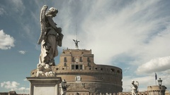 Angel statue close up at castel santangelo, rome Stock Footage