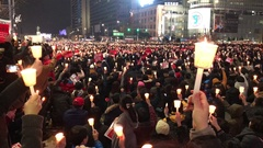 Tens of thousands of South Koreans protesting in central Seoul, South Korea Stock Footage