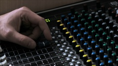 Soundman Working With Aged Mixer Console Stock Footage
