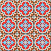 Ceramic tile pattern of retro red blue curve cross kaleidoscope Stock Illustration