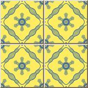 Ceramic tile pattern of yellow blue cross line flower Stock Illustration