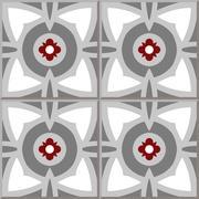Ceramic tile pattern of grey round red flower Stock Illustration
