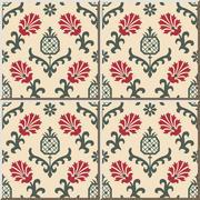 Ceramic tile pattern of nature garden red flower pineapple fruit Stock Illustration
